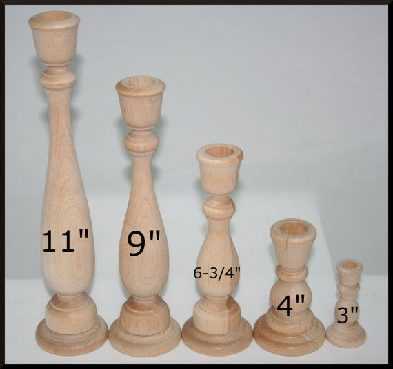 Various Sizes- Unfinished Wood Candlestick Holders- DIY Wedding Accents, Home Decor, Cake Tier Spacers-FREE Gift