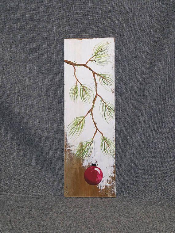 Christmas decor Pallet Christmas art Red Christmas