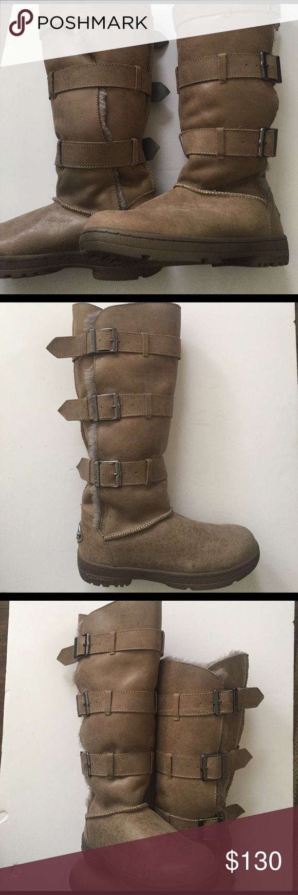 Bearpaw tall 3 buckle leather boots new Leather upper, wool lined, new without box BearPaw Shoes Winter & Rain Boots