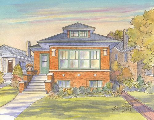 Painting Of Chicago Bungalow By Leisacollins