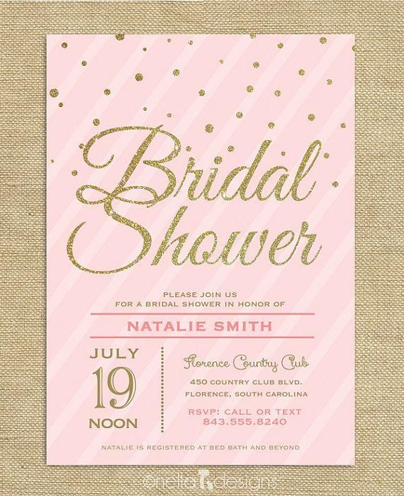 blush pink u0026 gold glitter bridal shower invitation confetti stripes wedding shower printable bridal brunch invite