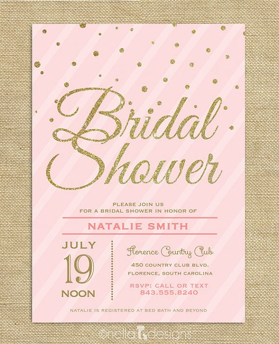 ... Pink & Gold Glitter Bridal Shower Invitation Confetti Stripes Wedding