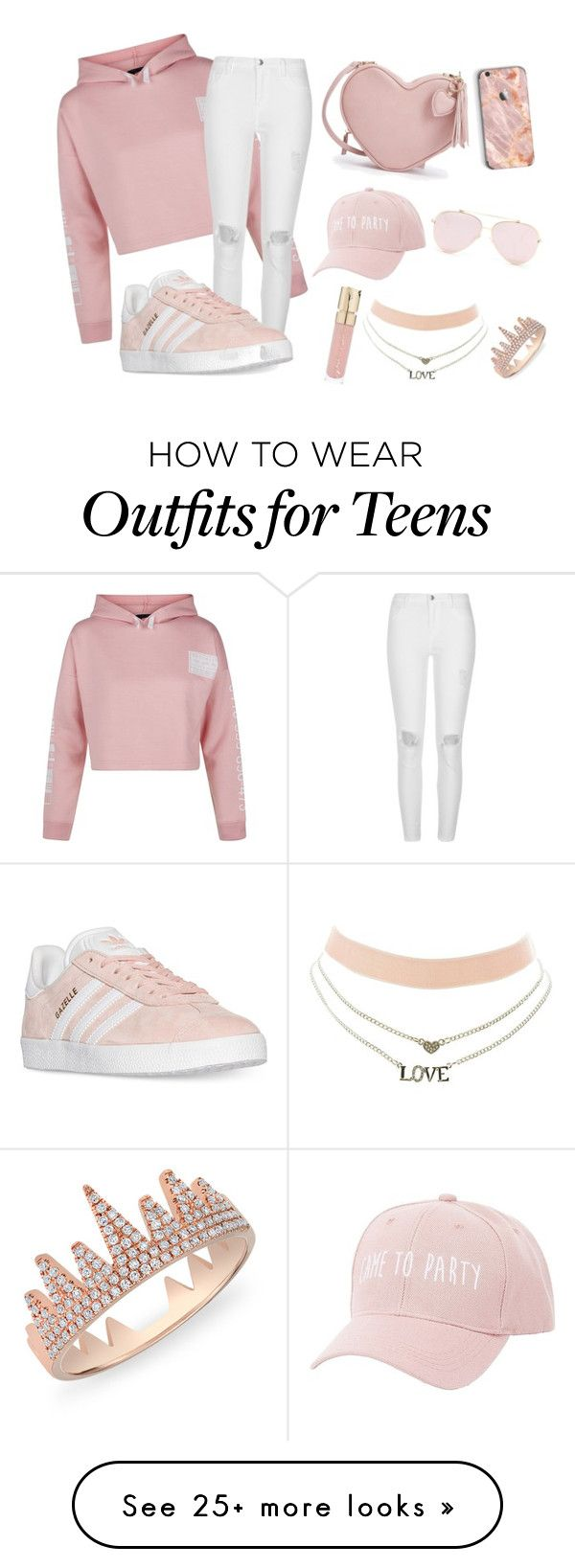 """""""peach"""" by afrahoran on Polyvore featuring New Look, River Island, adidas, Charlotte Russe, Smith & Cult and Anne Sisteron"""