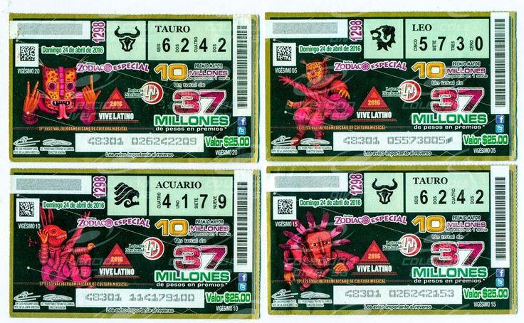 Mexico Billetes Loteria Vive Latino 2016 Artista Sener Set de 4 Piezas