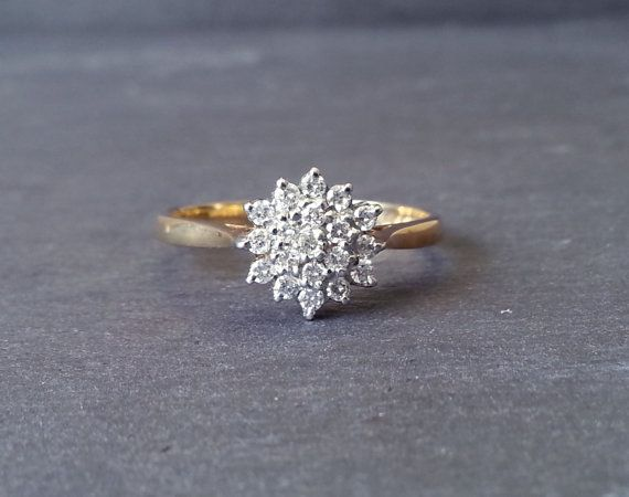 Cluster Diamond Engagement Band Ring, Gold Diamond Ring, Floral Cluster Engagement Ring ……………………………………………………………….  {Diamond}  Treasured since ancient