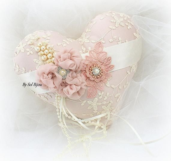 Tan Crystals Elegant Wedding Champagne Pearls Bridal Lace Pink Brooch Ring Bearer Pillow Ivory Blush Beige Vintage Style