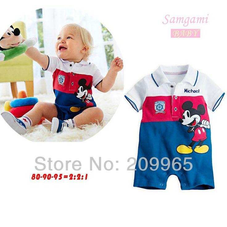 3pcs/Lot Atacado 2014 Verão Mickey Mouse Macacão para o menino Romper Neonatal Macacões Corpo de bebê recém-nascido Casacos Crianças