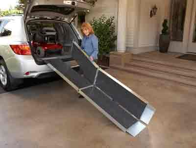 Folds easily after using your handicapped van ramps, portable scooter ramps.