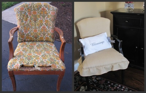 Love this!  I have a chair is desperate need of some tlc.  Love everything about the photo on the right.