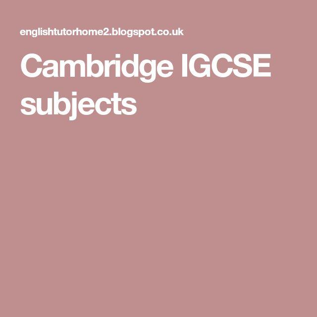 Cambridge IGCSE subjects
