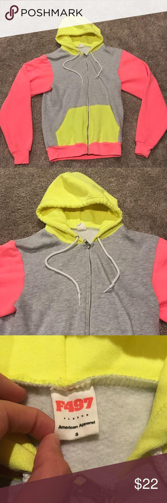 American Apparel Neon Zip Hoodie Neon Pink/ Neon Yellow/ Gray Zip Up Hoodie. Pockets on front. In great condition. American Apparel Tops Sweatshirts & Hoodies