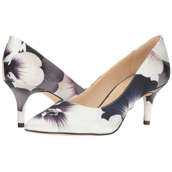 Nine West Margot (Black/White Pansy Print) High Heels (945.660 IDR) ❤ liked on Polyvore featuring shoes, pumps, black and white pointed toe pumps, high heel shoes, black and white shoes, print pumps and high heeled footwear
