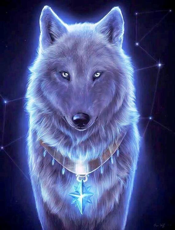 Wolf Fractal Neon Cross Stitch Pattern Counted Cross Stitch Etsy Wolf Spirit Animal Wolf Wallpaper Wolf Artwork