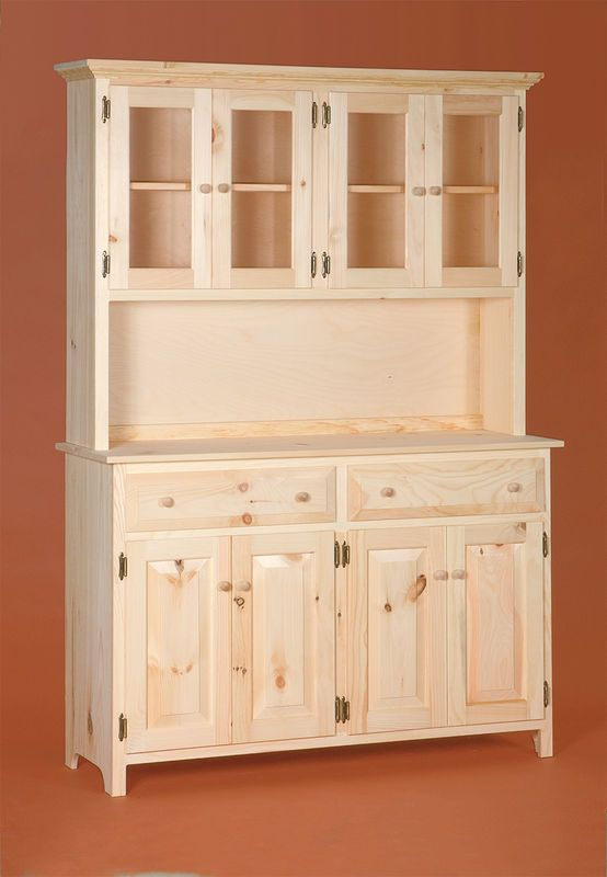 Two piece hutch....large bottom with doors and drawers and beautiful glass door top