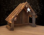 Nativity Creche Stable with Slant Roof Reclaimed Barnwood for Willow Tree