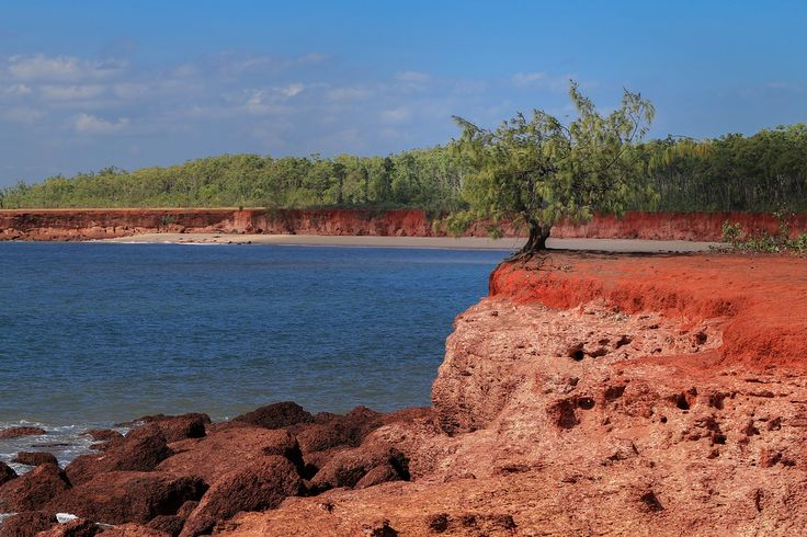 The iconic red rock, white sand, and blue water of Bathurst Island, Tiwi Islands, Northern Territory, Australia. The Tiwi Islands are part of the Northern Territory of Australia, 80 km to the north of Darwin where the Arafura Sea joins the Timor Sea. They are inhabited by the Tiwi people, as they have been since before European settlement in Australia. The Tiwi are an Indigenous Australian people, culturally and linguistically distinct from those of Arnhem Land on the mainland just across…