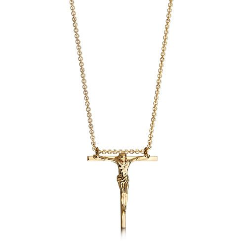 HIS Men's 14k Gold Hanging Crucifix Cross Necklace gold necklaces for men