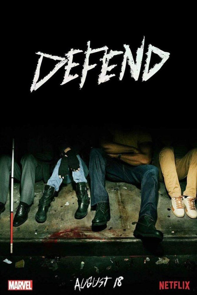 Charlie Cox, Krysten Ritter, Mike Colter, and Finn Jones in The Defenders (2017) - Visit to grab an amazing super hero shirt now on sale!