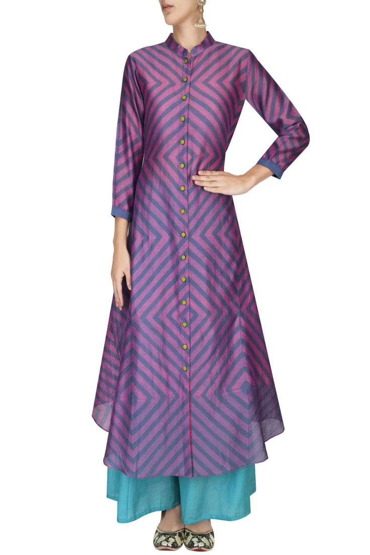 Long cotton/silk buttoned kurta over turquoise palazzos