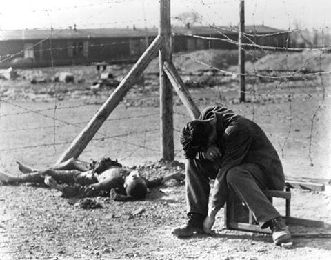 A very sad photo taken by Margaret Bourke White who  was the first female war correspondent in WWII. The picture was taken at the Buchenwald concentration camp in Germany during the liberation.   #ww2 #wwii #buchenwald #holocaust