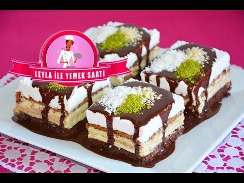Kek - Bisküvi ve  Pudingli  Pasta Tarifi - Kuchen mit Teig, Keks und Puddingschicht - YouTube
