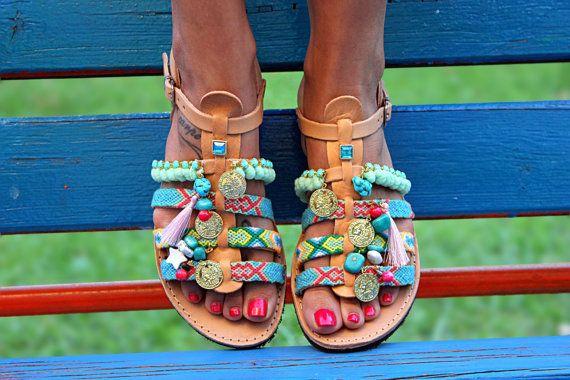 "Gladiator Sandals, Greek Leather Sandals, Handmade Sandals ""Bora Bora"""