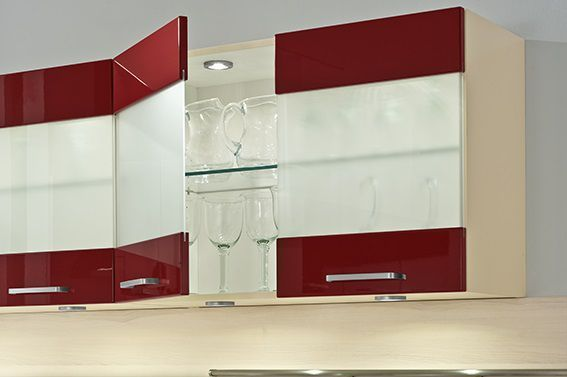 High Gloss kitchens from LWK Kitchens - Wine red gloss laminate kitchen doors - Discover more at www.lwk-home.com