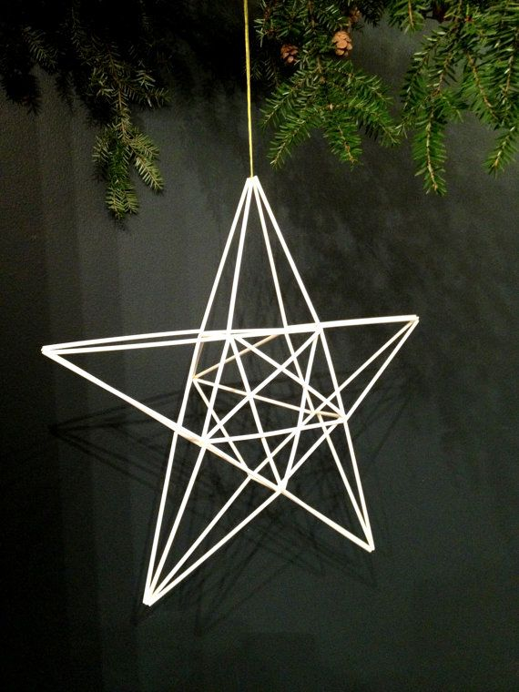 Mobile or tree topper based on traditional Finnish himmeli mobiles, this wonderfully delicate piece is surprisingly modern. Hang together in a baby room, to top off your Christmas tree, or in your house all year round. The silhouette constantly shift as it spins while casting intriguing shadows.    Dimensions - 15 square x 7.5 deep (38cm square x 19cm deep)      Please specify whether you would like a cotton loop or a metal hook for hanging. Originally himmeli mobiles were made from rye…