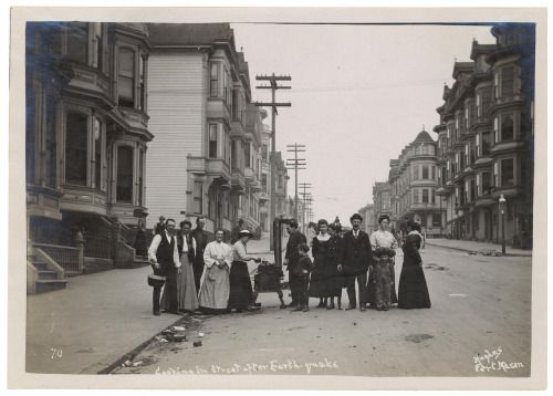 Cooking on a Stove in the Street After the 1906 San Francisco Earthquake.