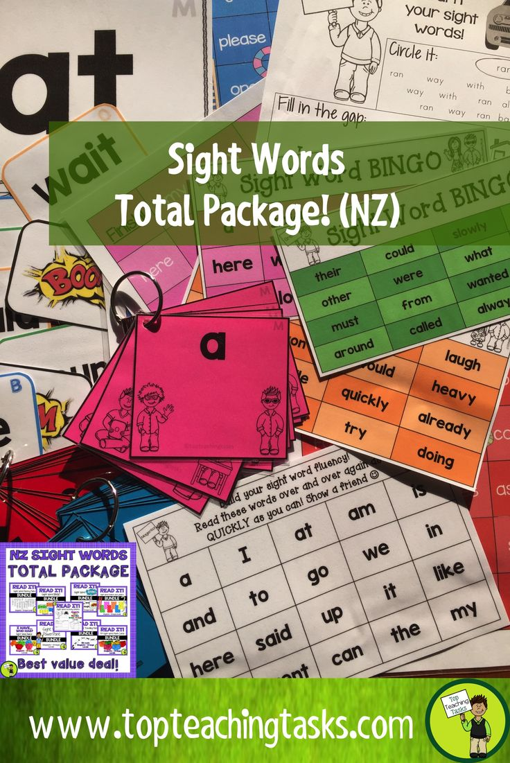 This discounted bundle includes NINE bundles in total. This is everything you will need to provide activities and games while reinforcing sight word fluency! Each pack includes all Magenta, Red, Yellow, Blue, Green and Orange words based on the New Zealand Curriculum High-Frequency Sight Word lists.   Use these sight word games and activities as part of your Word Work Daily 5 activities, as a homework activity or as an addition to your literacy program.