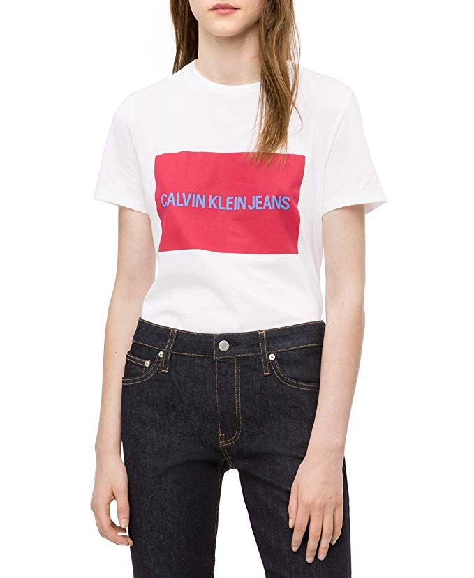 8a49ce758b Calvin Klein Jeans Women's Short Sleeve T-Shirt Institutional Logo,  Brilliant White, L