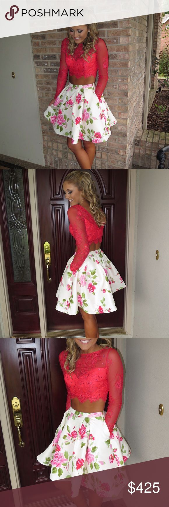 Sherri Hill Homecoming dress Two piece Sherri Hill homecoming dress. Floral bottom w coral/pink long sleeve top. Skirt has pockets. Worn once. Sherri Hill Dresses Prom
