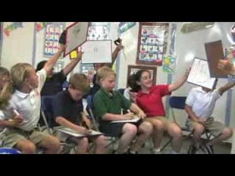 video of upper elementary Spanish classroom, variety of activities