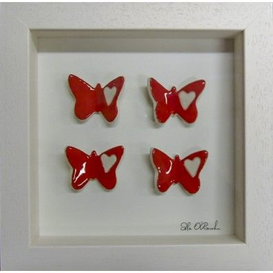 4 butterflies ceramic frame <3