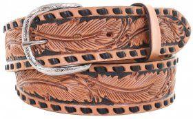 Mens - Hand-Tooled - Double J Saddlery Belt - B904 - Natural Feather Tooled Belt