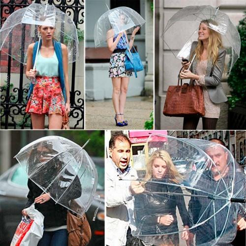 El inigualable paragua transparente de burbuja, que tanto está de moda entre las famosas!    http://www.regatron.es/regalos-originales/para-ellas/paraguas-transparente-gossip-girl.html