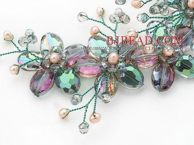 2013 Summer New Design Crystal verde y rosada de agua dulce de la perla collar de la flor