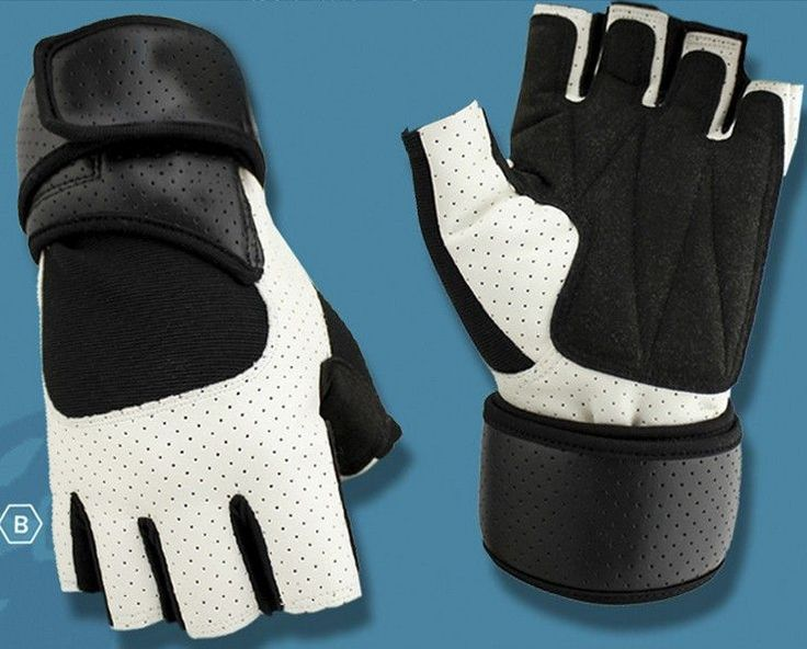 Unisex Leather Weight Lifting Body Building Gloves With Wrist Straps