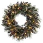 24 in. Pre-Lit Incandescent Artificial Glitter Christmas Wreath with 120 Tips and 50 UL Clear Lights, Greens