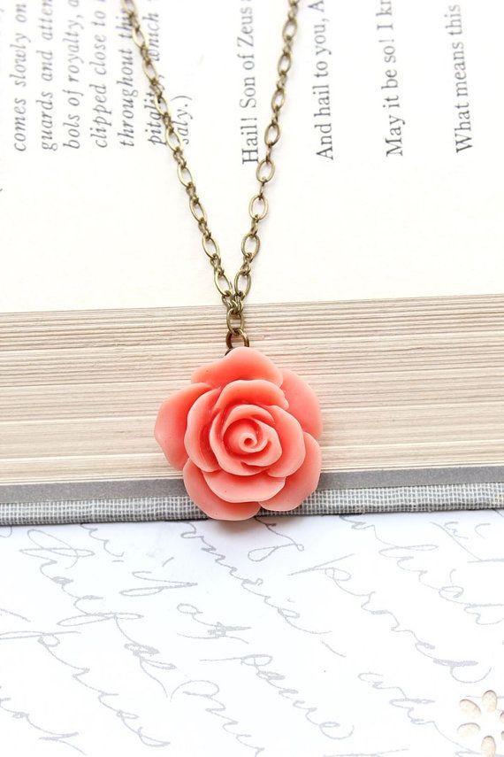 Coral Rose Necklace Single Rose Pendant Romantic Jewelry Floral Jewellery Brides…