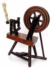Vtg. 40s German Miniature Doll House Wooden Spinning Wheel Home Made Decoration