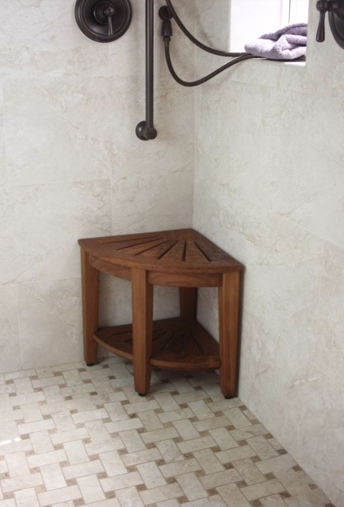 Corner Shower Seat Teak Stool Bench Foot Small With Shelf Spa