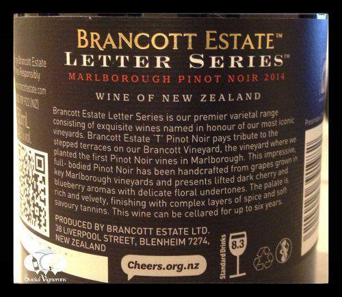 2014 Brancott Estate Letter Series 'T' Pinot Noir, Marlborough, New Zealand wine back label small social vignerons