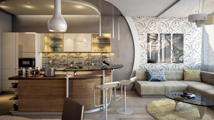 кухня в современном стиле, интерьер кухни, кухня-студия, дизайн кухни, квартира в современном стиле