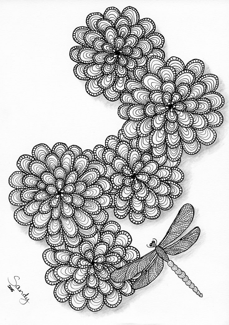 Flowers and dragonfly Zentangle by Sandy Rosenvinge Lundbye.
