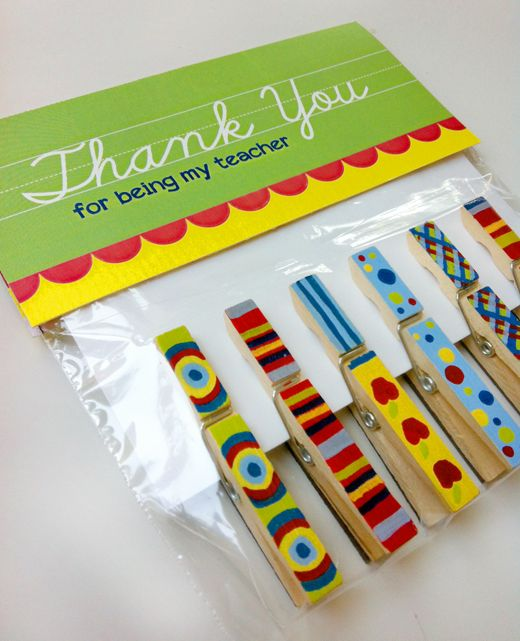 Clothes Pin Magnets~  Make with washi tape, paint or decoupage with scrapbook paper.  Great gift for kids to make and give!