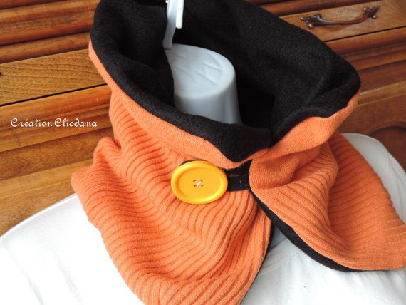 ecofriendly button scarf made with one knit orange sweater and fleece lining by cliodana on Etsy.
