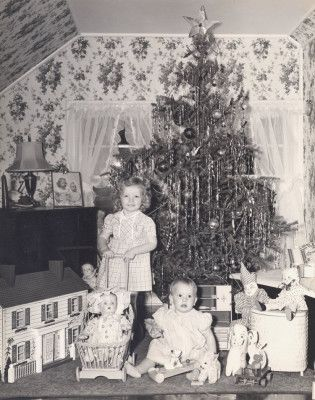 1940s christmas  ~ oh my gosh; at first glance I thought it was you & I in that one pic we have of Christmas morning...haha!