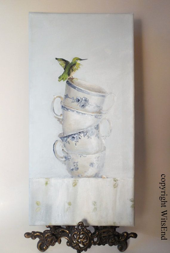 'DELICATE BALANCE'. Hummingbird and Teacups painting original art.  by 4WitsEnd, via Etsy.