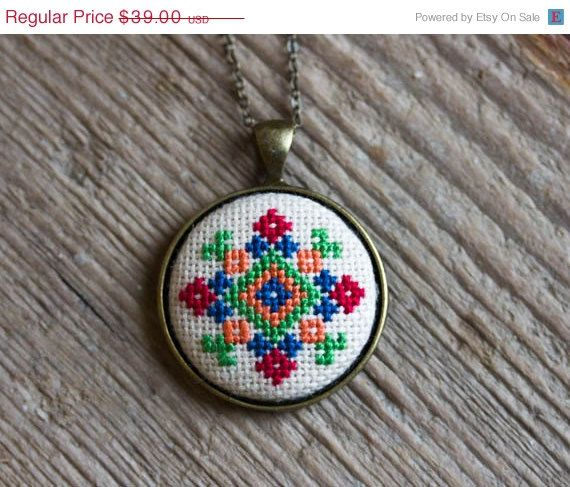 Cross stitch Ethnic necklace  Ukrainian folk embroidery by skrynka, $31.20